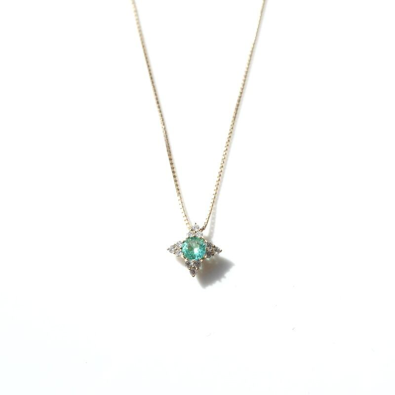 Paraiba tourmaline dia Necklace - K18YG