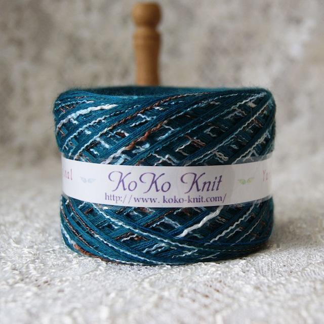 §koko§ for you~落ち着いたグリーンに段染め メンズにも  1玉74g以上  ウール 段染め 引き揃え 毛糸 オリジナル糸