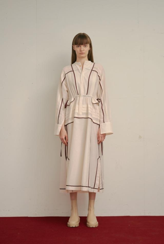 PIN TUCK SHIRT DRESS / IVORY