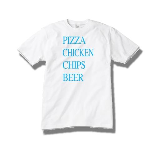 【送料無料】Tシャツ pizza chicken chips beer / blue
