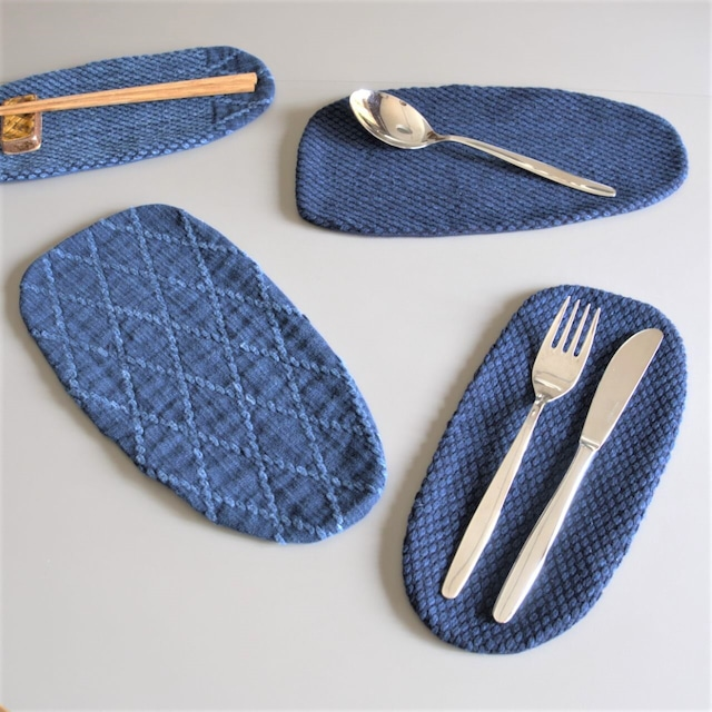 うしじま縫製 | 武州正藍染 カトラリーコースター(大) 二重刺子