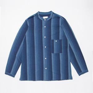 <OSOCU> Bingo-fushiori band collar shirt 備後節織 太かつお縞 変形バンドカラーシャツ 藍染 日本製