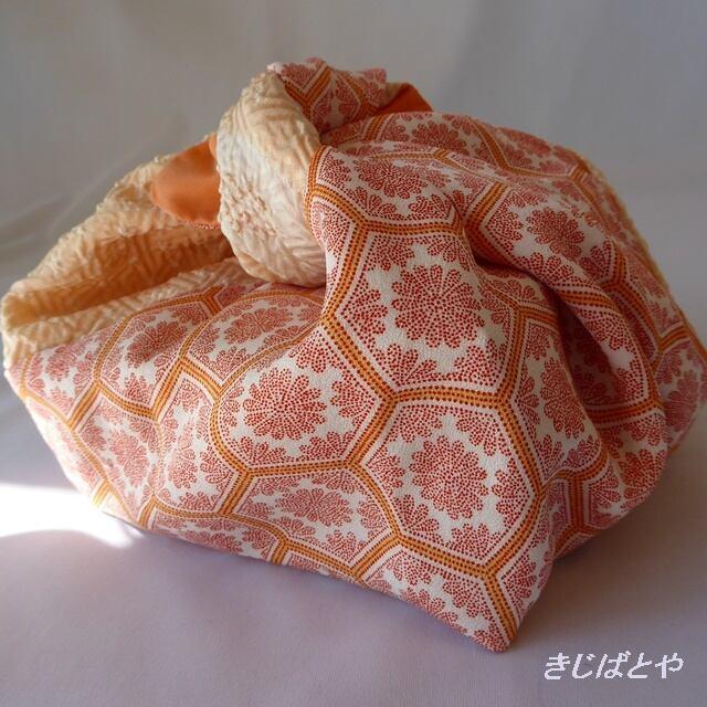 あずま袋 オレンジの絞りと亀甲