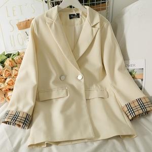 3色/チェック袖テーラードジャケット ・19713