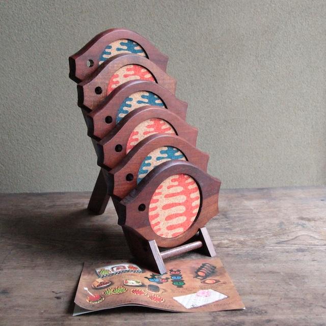 佐藤錦一作 木製コースターセット