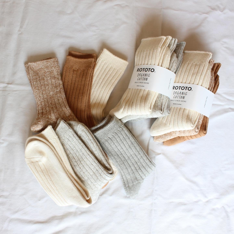 ROTOTO(ロトト)/ Organic Daily 3 Pack Ribbed Crew Socks(オーガニック デイリー 3パック リブクルーソックス)