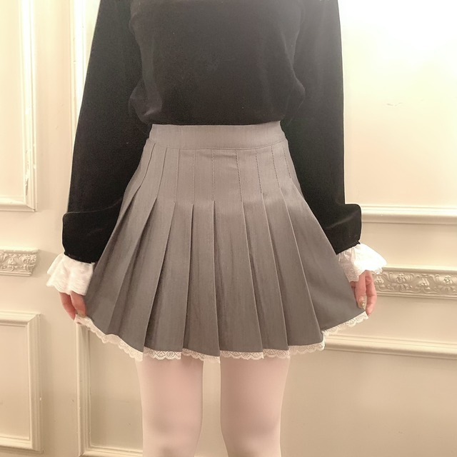frill pleats skirt