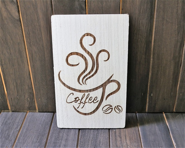 CAFE風インテリア コーヒーウォールアート(ホワイト) お洒落インテリア雑貨 ウォールアート インテリアパネル