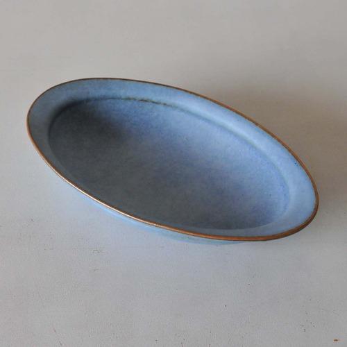 中林範夫(さんちゃ窯)青楕円パスタ皿(016)