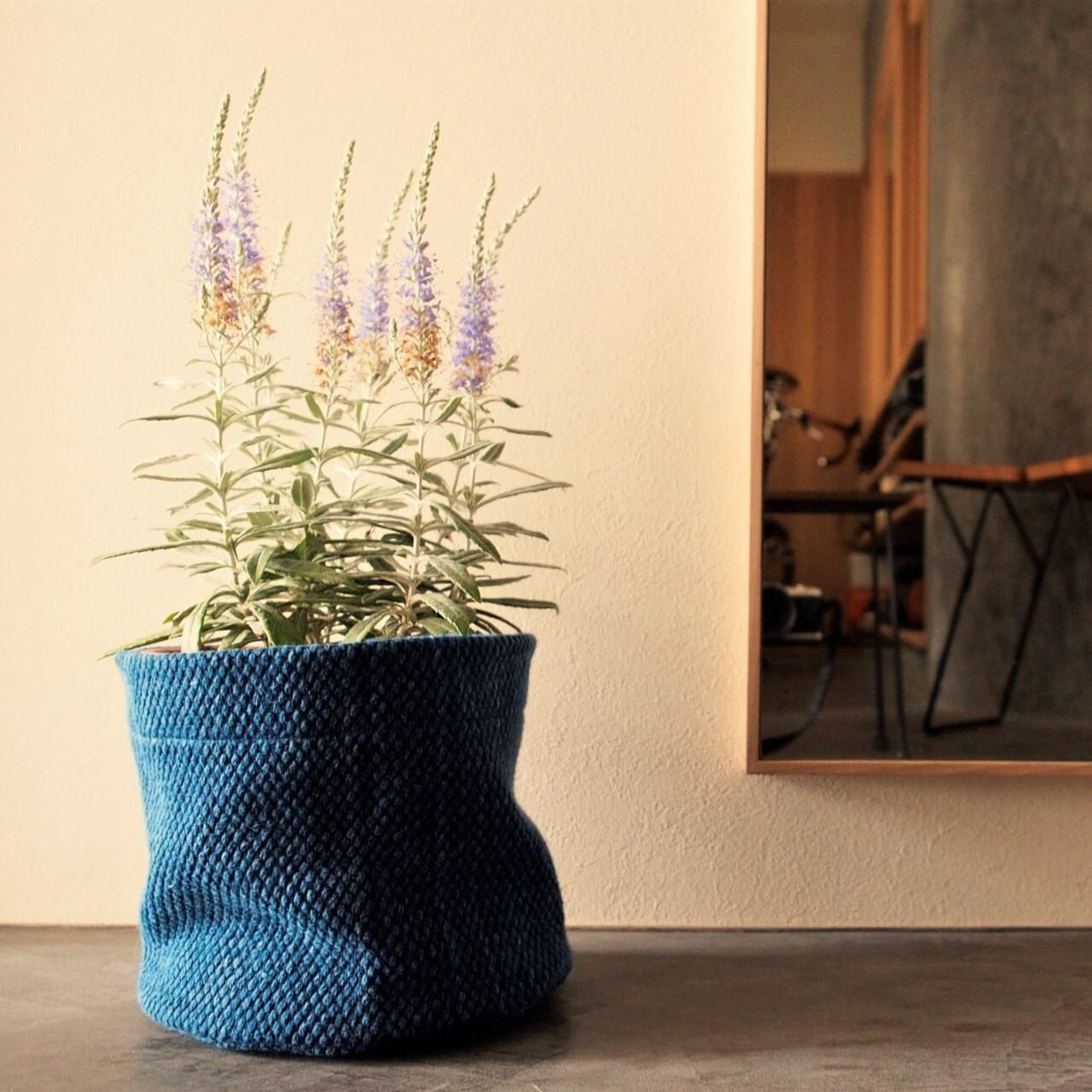 うしじま縫製   武州正藍染 鉢カバー【Lサイズ】 二重刺子