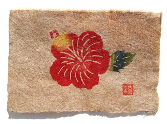 芭蕉紙型染はがき・ハイビスカス