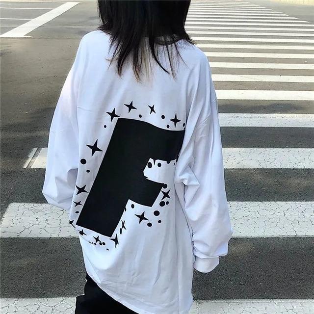 【トップス】ファッションルーズプリント長袖ラウンドネック53530455