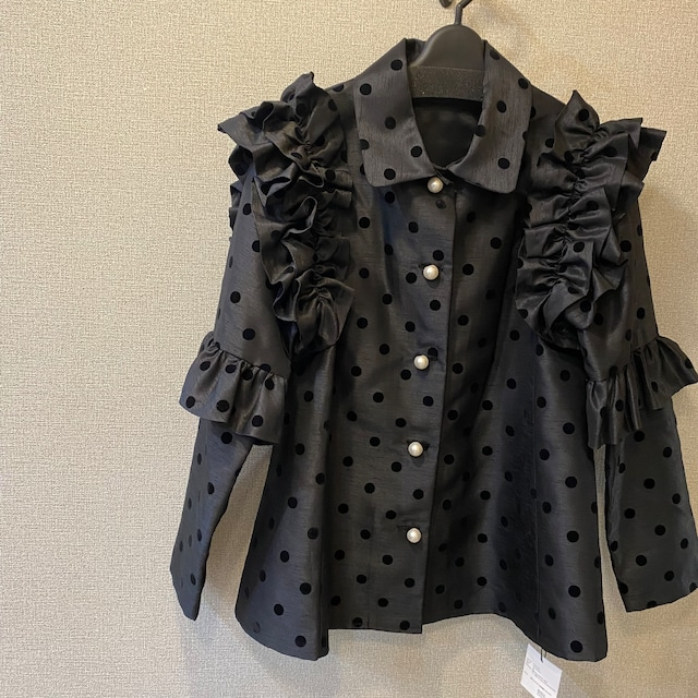 hue DAY TO EVENING FRILL SLEEVE BOW DOT BLOUSE