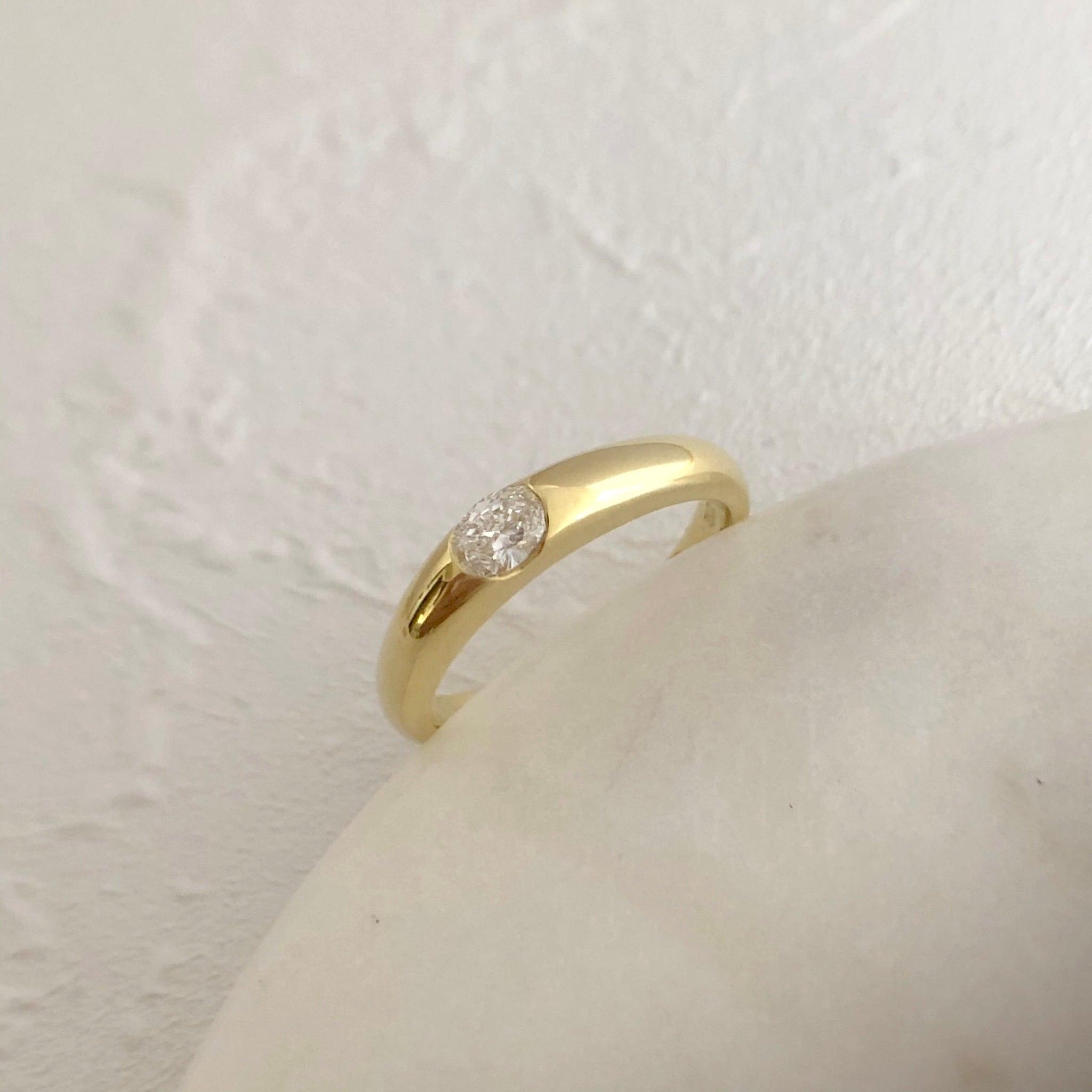 オーバルカットダイヤモンド リング  0.20ct  K18イエローゴールド  チェカ 鑑別書付