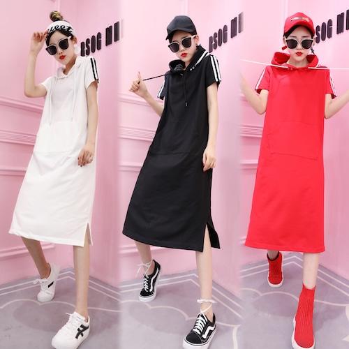 サイドライン パーカーワンピース 韓国ファッション レディース フード ワンピース ホワイト ブラック レッド ロング丈 DCT-567270415970_b