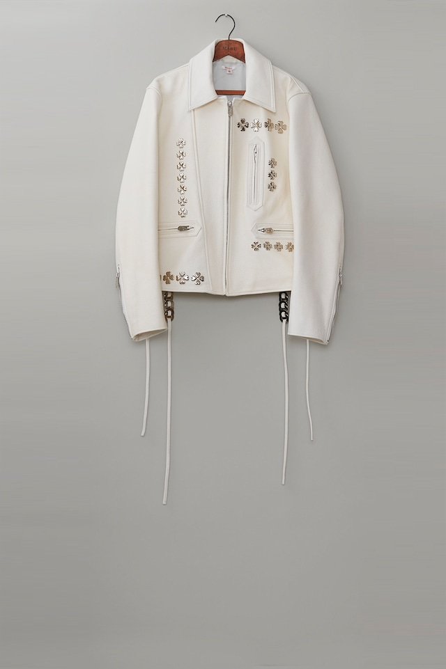 M A S U / CLOVER STUDS RIDERS JACKET(PURE WHITE)