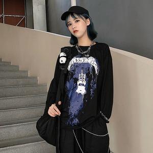 【トップス】ストリート系長袖幾何模様プリントTシャツ42913819