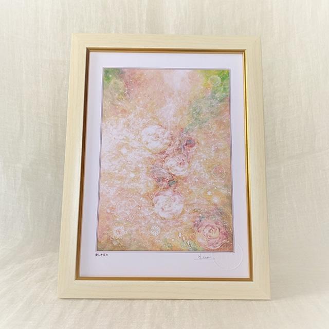 風水画 ヒーリングアート 薔薇の花の絵画 「愛しき日々」A4額