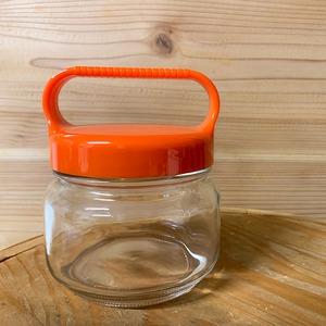 持ち手付きガラス瓶<オレンジ>:味噌保管におすすめ