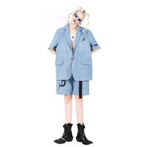 【PINKSPINK】パンチングデニム半袖テーラードジャケット