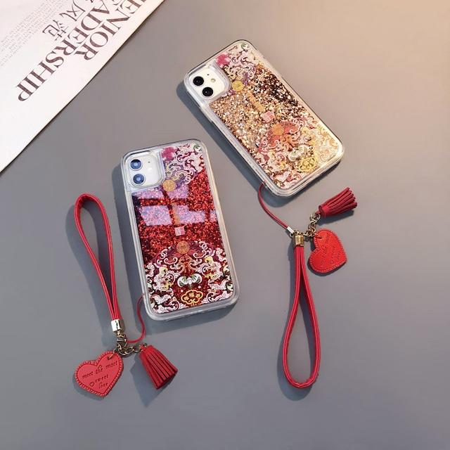 【倍晶シリーズ】★携帯ケース★ キラキラ 創意 流れる iPhone 12 11 7/8/SE2 多彩な レッド ゴールド