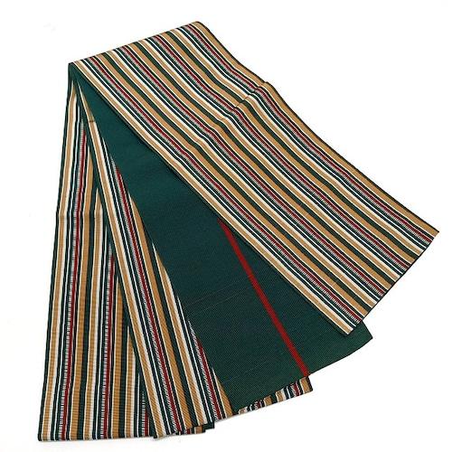 ★半巾帯 ボーダー 赤緑黄 縞 マルチカラー ★縁ちゃぶ c099