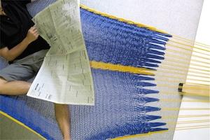 """ハンモック  """"Bed-mock""""  ( Ocean blue × Yellow line )    Size-S  (180cm)"""