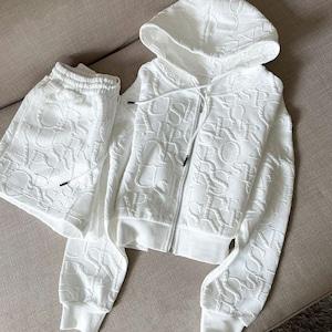 【セット】シンプル長袖フード付きジッパージャケット+ショートパンツ53571596