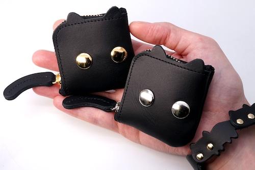 ねこぜにいれ(ゴールド/シルバー)猫顔の牛革製ミニチュアL字ファスナー小銭入れ