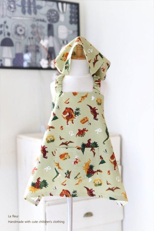 キッズエプロン・三角巾セット110-120*恐竜/La fleur