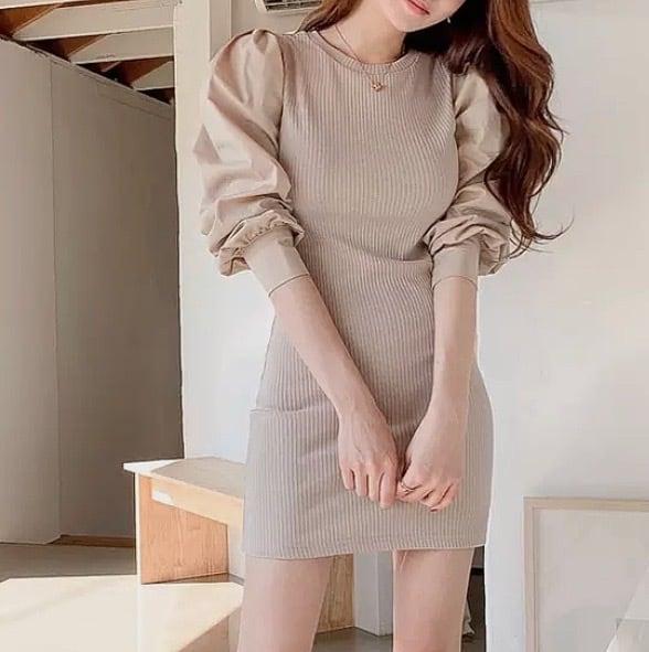 nudey puff sleeve dress