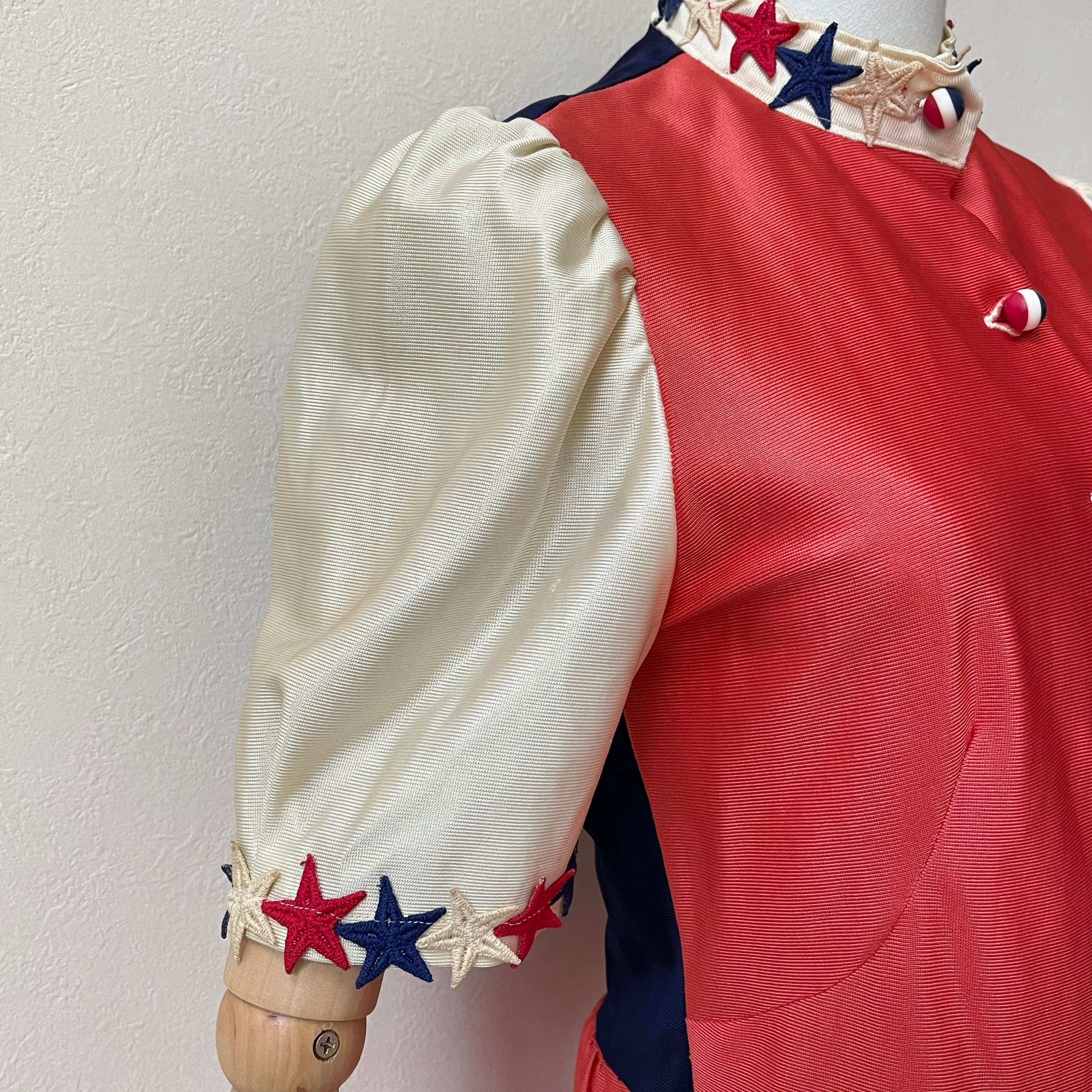 70年代 USA製 ヴィンテージ 星柄ワッペン トリコロール  半袖ブラウス レディース古着