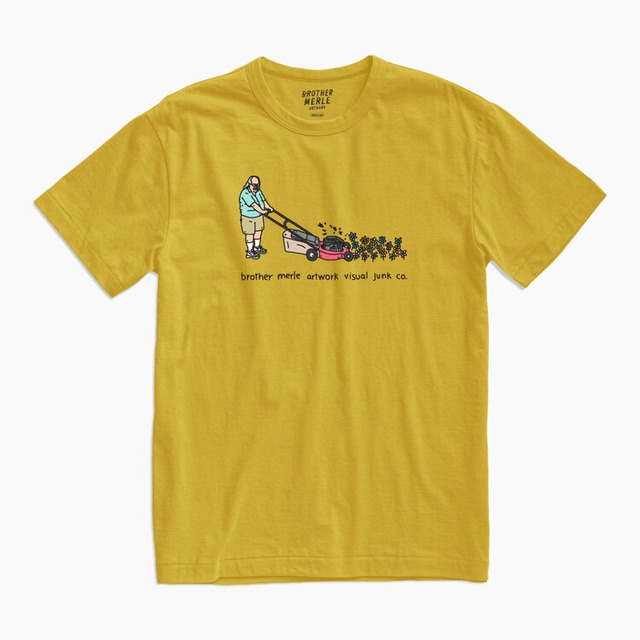 BROTHER MERLE LAWN MOWER T-SHIRT GOLD