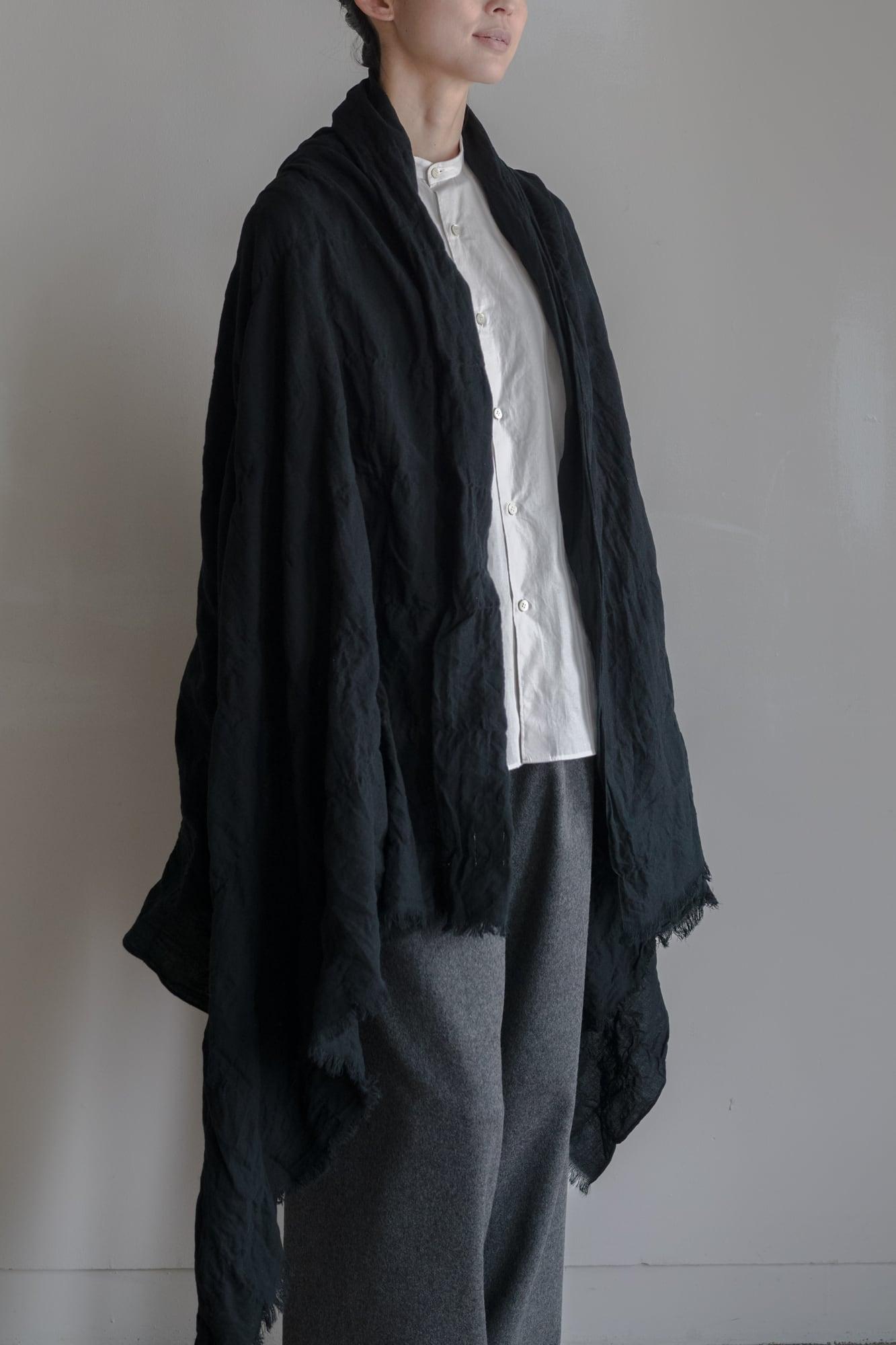 0136-1 cotton/wool muji windowpen stole / black