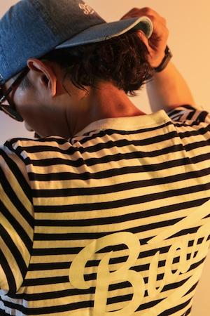 LOGO Horizontal Stripes TEE [BLACK]