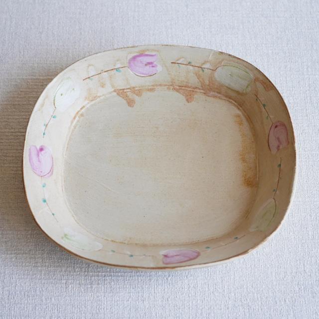 オーバル鉢 -Flower- Ivory