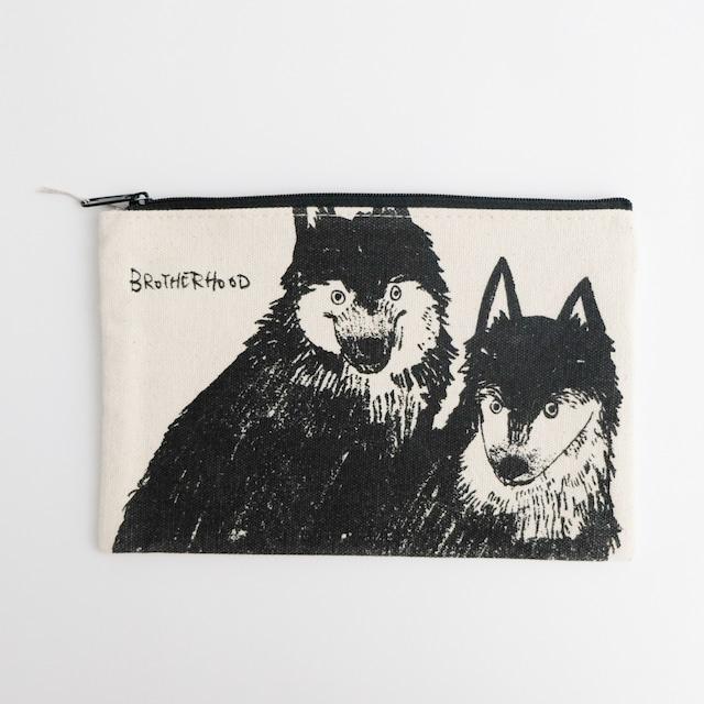 黒山 KATHY LAM ポーチ Wolf Dogs