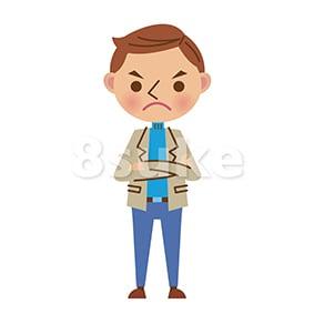 イラスト素材:腕組みをする私服姿の男性(ベクター・JPG)