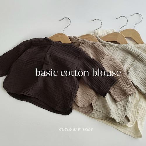 【即納】basic cotton blouse〔ベーシックコットンブラウス〕 monbebe