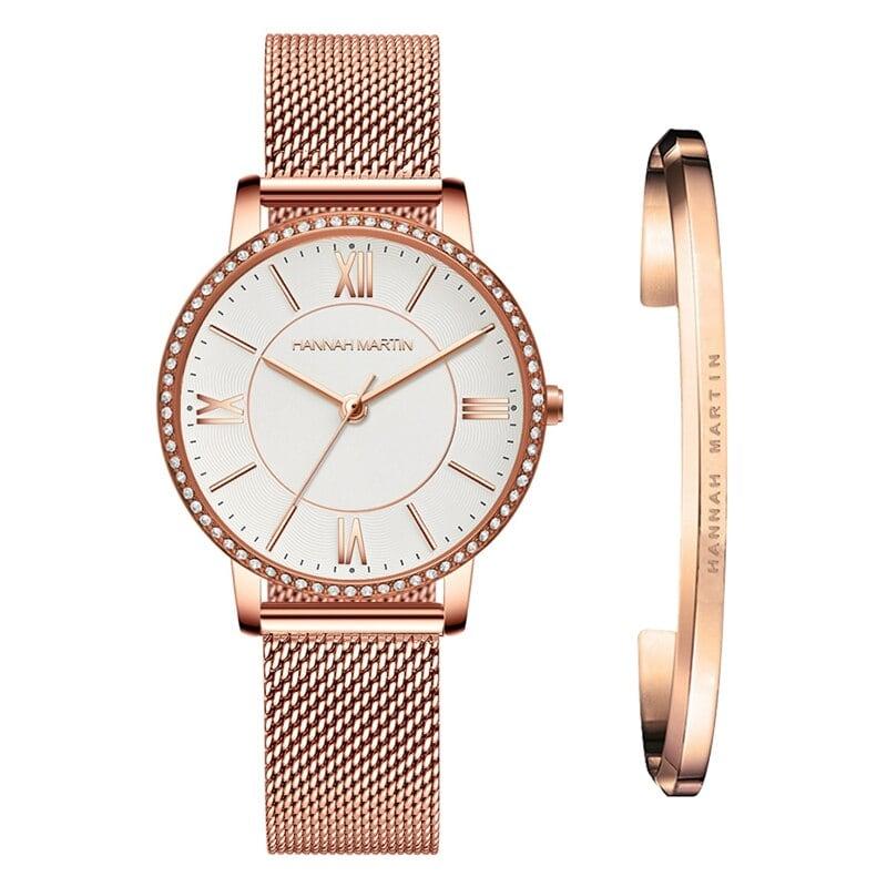 1セット時計&ブレスレット女性日本クォーツラインストーン腕時計トップブランド高級ファッションカジュアルレディース時計1072WF1-SZ