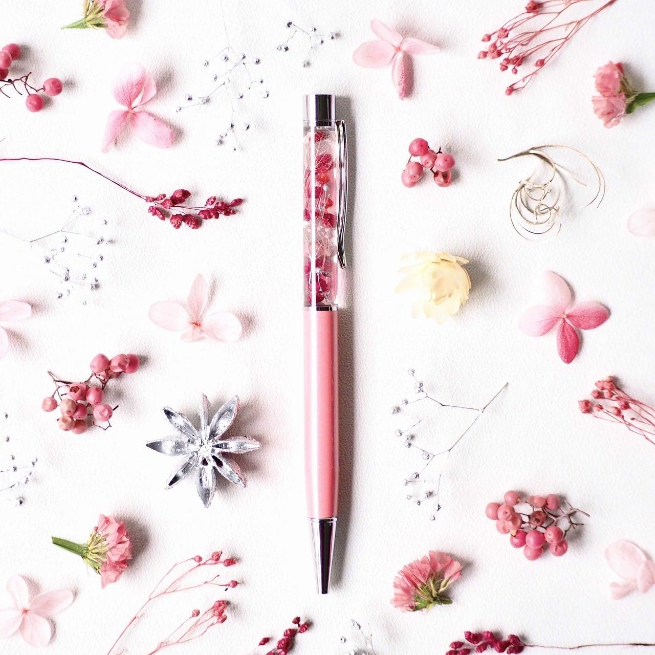 ハーバリウムボールペン『唐紅』(金属部:シルバー)