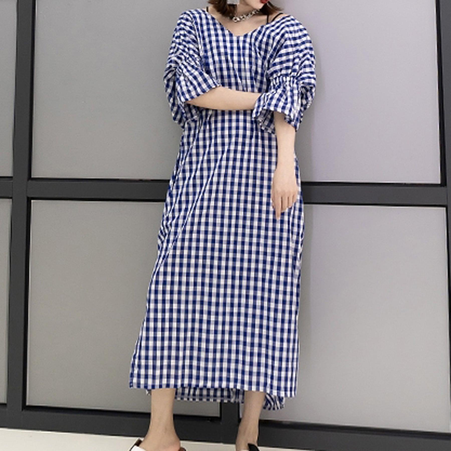 デザインドレス ギンガムチェック(ブルー・ブラック) Vネック ロング丈 バックギャザー デザインナーブランド セレクトショップ