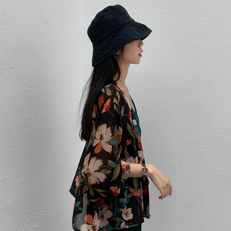 Drape chiffon flower cardigan(ドレープシフォンフラワーカーディガン)a-619