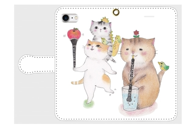 (iPhone用)オーボエ猫の手帳型スマホケース