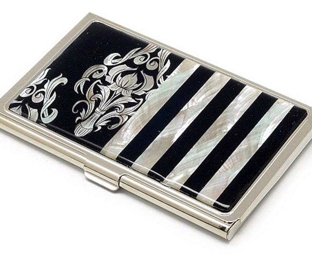 天然貝名刺カードケース(ダマスク×ストライプ)シェル・螺鈿アート