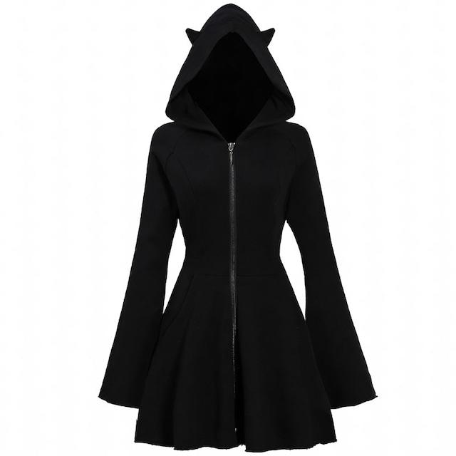 【兮度シリーズ】★パーカーワンピース★ 帽子付き 悪魔 長袖 ジッパー付き 可愛い ブラック 黒い ファッション