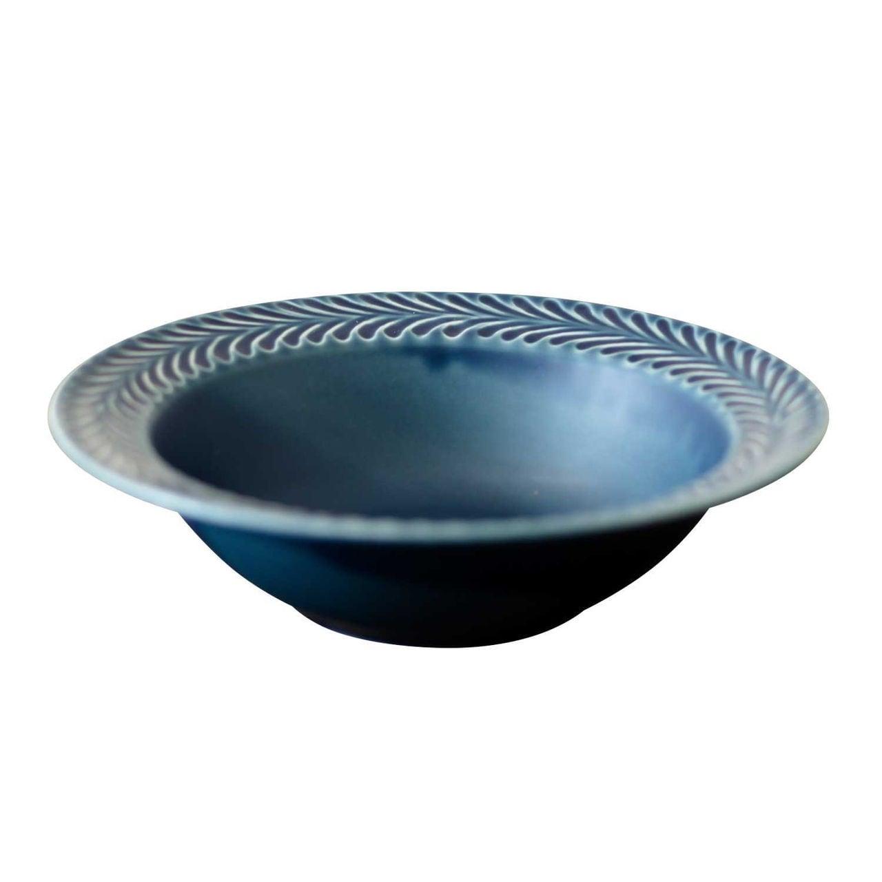 波佐見焼 翔芳窯 ローズマリー リムボウル 皿 約18cm デニム 33389