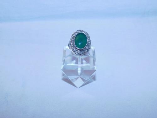 シルバーに緑メノウの指輪(ビンテージ) silver green agate vintage ring