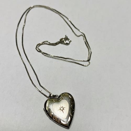 Vintage Heart Shaped Silver Locket Pendant Necklace