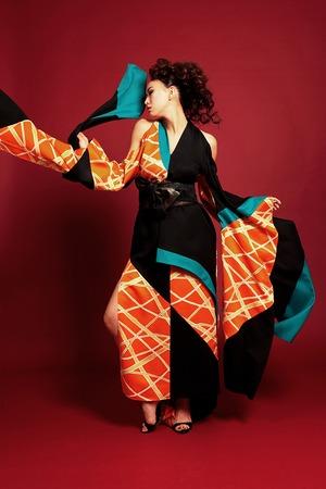 鳳凰ドレス(phoenix dress)Orange × turquoise × black